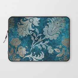 Aqua Teal Vintage Floral Damask Pattern Laptop Sleeve