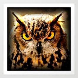owl look digital painting reacstd Art Print
