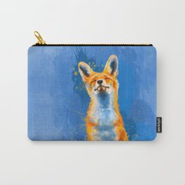 Happy Fox on blue background, inspirational animal art Carry-All Pouch