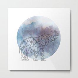 Geometric Elephant In Thin Stipes On Circle Background Metal Print