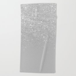 Trendy modern silver ombre grey color block Beach Towel