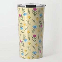 Spring vibes   Pastel flowers pattern   Yellow Travel Mug