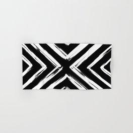 Minimalistic Black and White Paint Brush Triangle Diamond Pattern Hand & Bath Towel