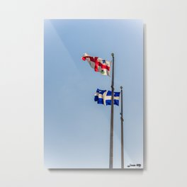 Montréal and Québec Flags Metal Print