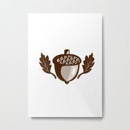 Acorn Oak Leaf Isolated Retro Metal Print