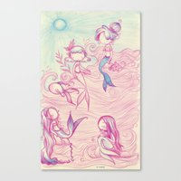 mermaids Canvas Prints featuring Mermaids by malipi