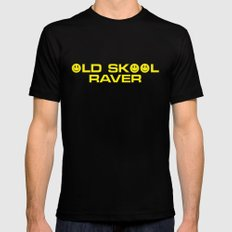 Old Skool Raver Music Quote MEDIUM Black Mens Fitted Tee