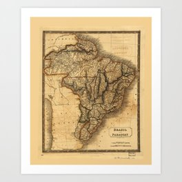 Map of Brazil and Paraguay (1828) Art Print