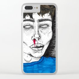 bloody blue Clear iPhone Case