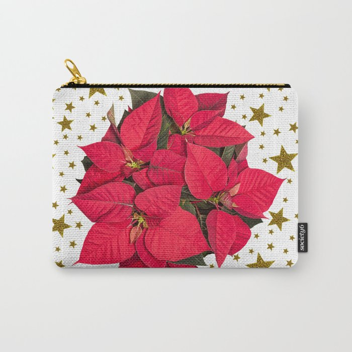 Red Christmas flower and sparkly gold stars Carry-All Pouch