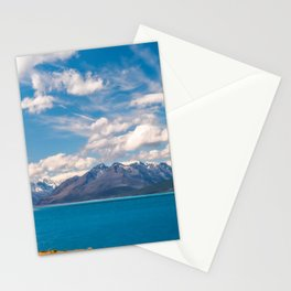 Breathtaking alpine scenery panorama at Lake Pukaki in Mount Cook NP, New Zealand. Stationery Cards