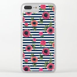 Watercolor Flowers with Nautical Stripes Clear iPhone Case