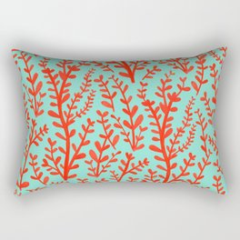 Mint Green and Red Floral Leaves Gouache Pattern Rectangular Pillow