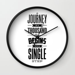 A Journey of a Thousand Miles modern black and white minimalist typography home room wall decor Wall Clock