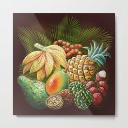 Exotic Fruits Still Life Color Pencils Art Metal Print