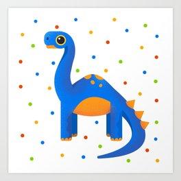 Cute Blue Dinosaur For Adventurous Kids Art Print
