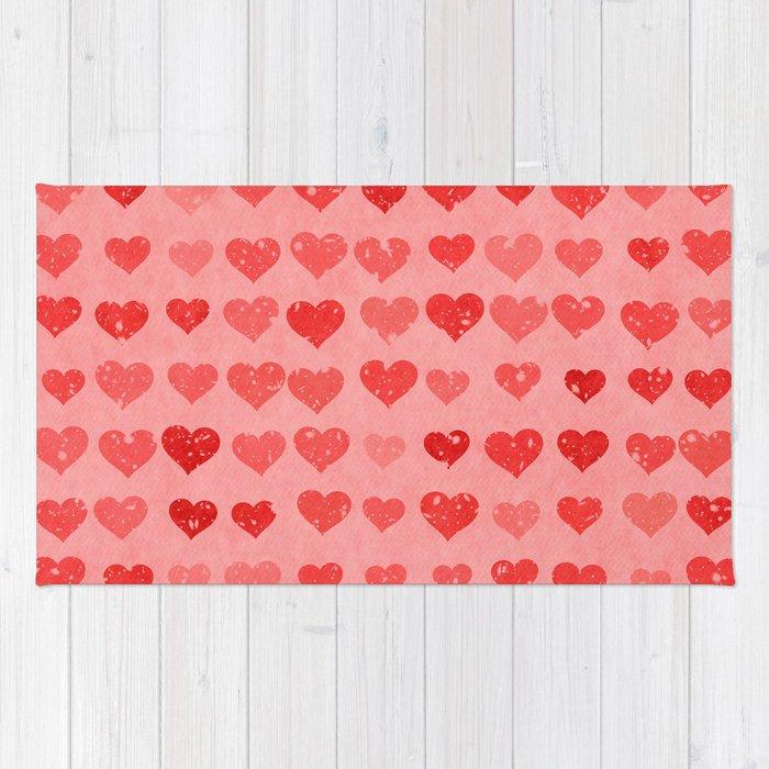 Pink Valentines Love Hearts Rug