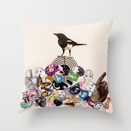 Magpie collector collage Throw Pillow