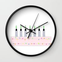 cake Wall Clocks featuring Cake by BIGEHIBI