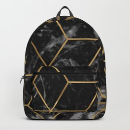 Golden deco black marble geo Backpack