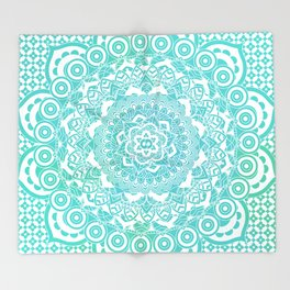 Sea Green Ombre, Indian Mandala Pattern Throw Blanket