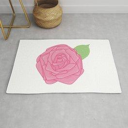 Pink Rose with Leaf Illustration Rug