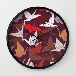 Japanese Origami paper cranes symbol of happiness, luck and longevity, sketch Wall Clock