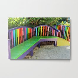 Bright Benches I Metal Print