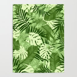 Green Tropical Leaves Pattern Poster