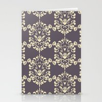damask Stationery Cards featuring Damask aubergine by Carolina Abarca