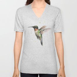 Hummingbird Watercolor Unisex V-Neck