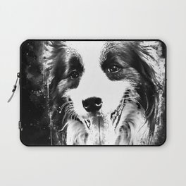 border collie shepherd dog splatter watercolor white Laptop Sleeve