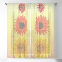 Three Happy Sunflowers in Autumn Colored Pencil Sheer Curtain