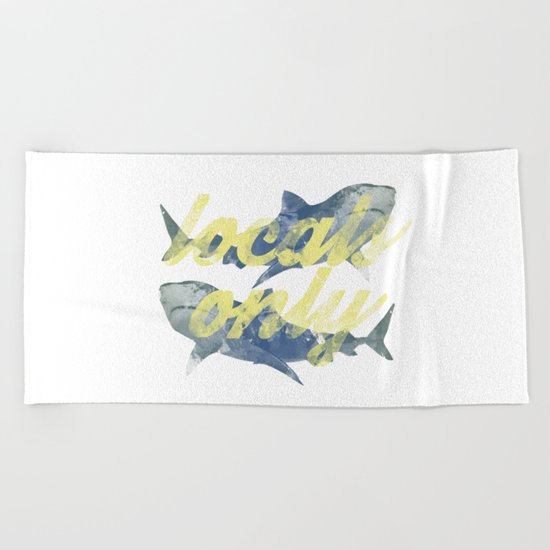 Locals Only Watercolor Beach Towel