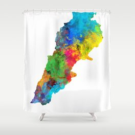 Lebanon Watercolor Map Shower Curtain