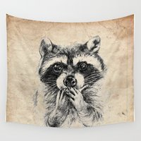 racoon Wall Tapestries featuring Surprised raccoon by Anna Shell