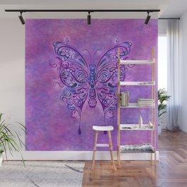 Butterfly In Purple Wall Mural