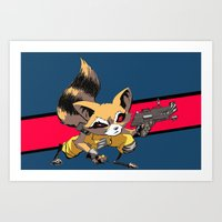 rocket raccoon Art Prints featuring ROCKET RACCOON by Walko