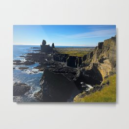 Lóndrangar Rock Pillars in Western Iceland (1) Metal Print