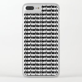 Black and White Womens Makeup Stripes Clear iPhone Case