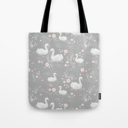 Swans painting cute girly trend cell phone case with swans pattern florals hand painted Tote Bag