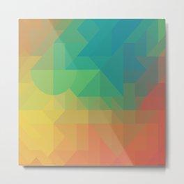 Geometric Geometry Gradient Blue Green Orange Yellow Pattern Metal Print