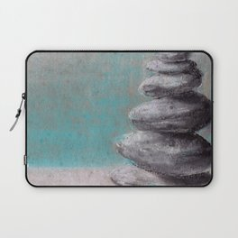 Stack of balanced stones on the beach drawing by pastel Laptop Sleeve