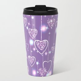 Bright openwork hearts on a lilac background. Travel Mug