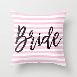 Bride Pink and White Stripes Throw Pillow