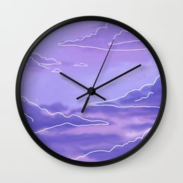 Blue Sunset View Cloud Aesthetic Wall Clock
