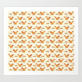 Red Fox & Hearts Pattern Art Print