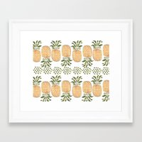 pineapples Framed Art Prints featuring Pineapples by Bouffants and Broken Hearts