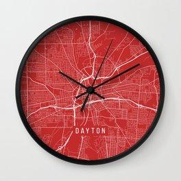 Dayton Map, USA - Red Wall Clock