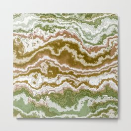 Green and toasted sienna marbling texture Metal Print